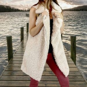 Soft Cozy Shaggy Faux Fur Long Vest Fuzzy Wrap